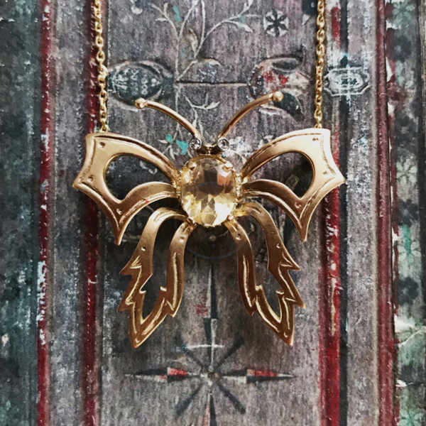 20% OFF Art Nouveau Citrine Butterfly Necklace