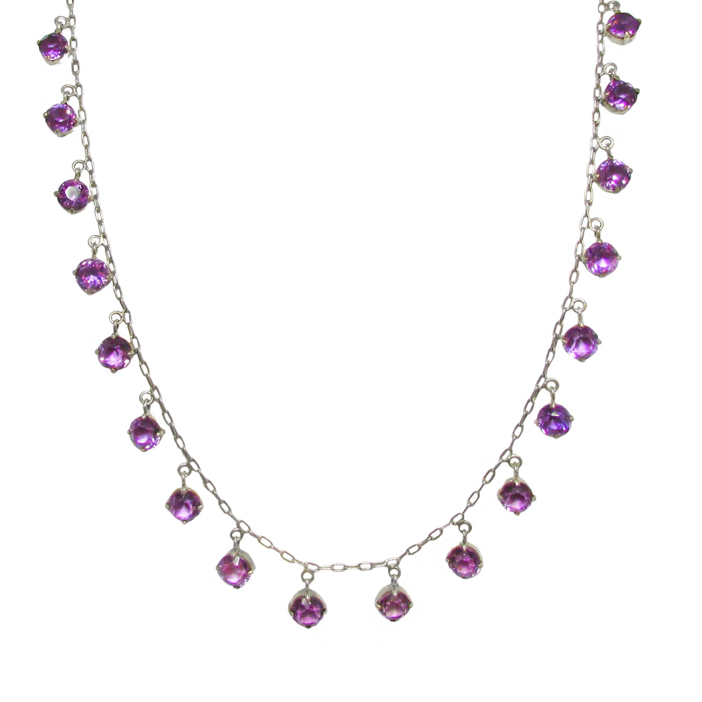 20% OFF Art Deco Silver Amethyst Fringe Necklace