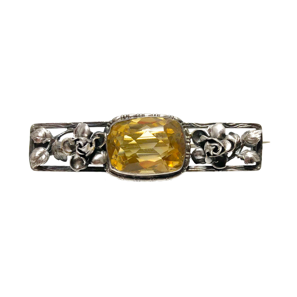 Art Nouveau German Citrine Floral Brooch