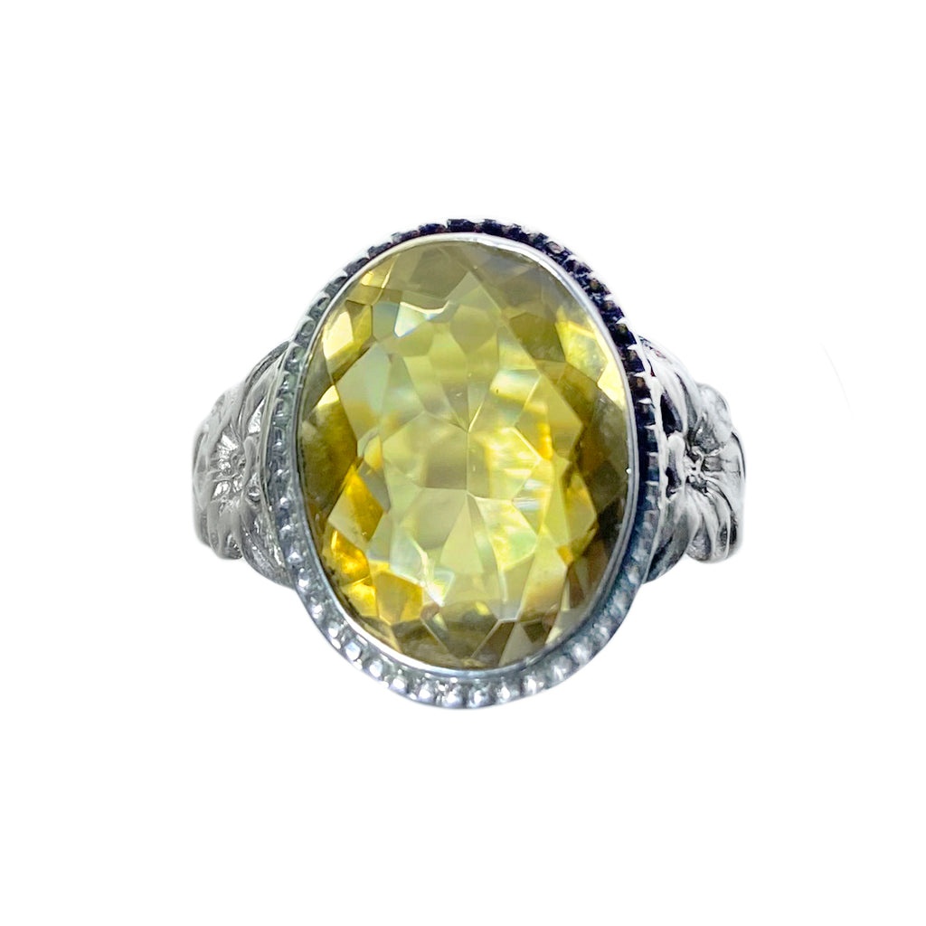 Antique Citrine and Sterling Silver Ring