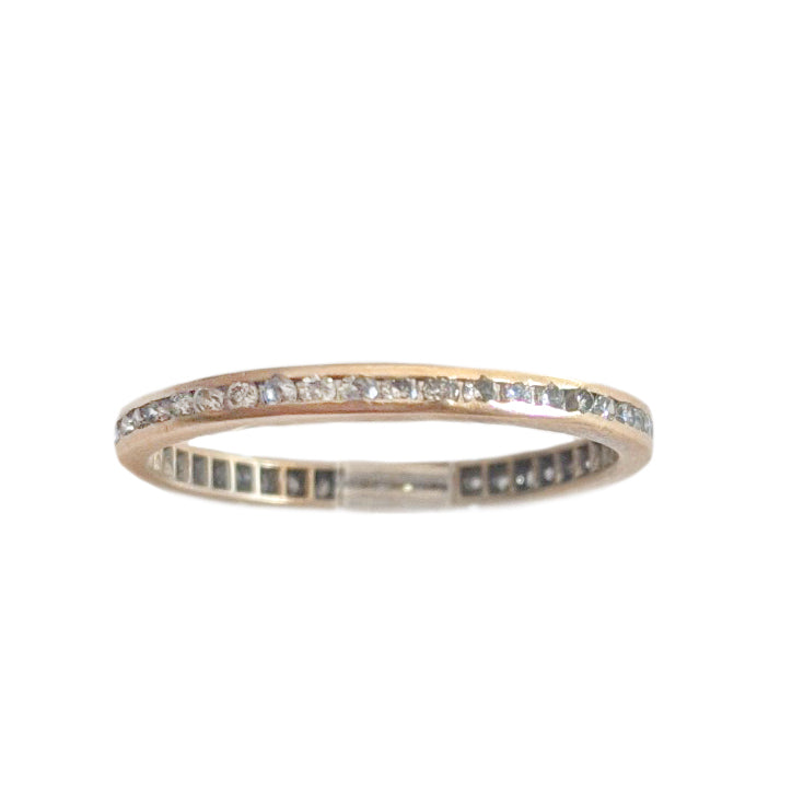 Art Deco 14k Channel-Set Diamond Eternity Band