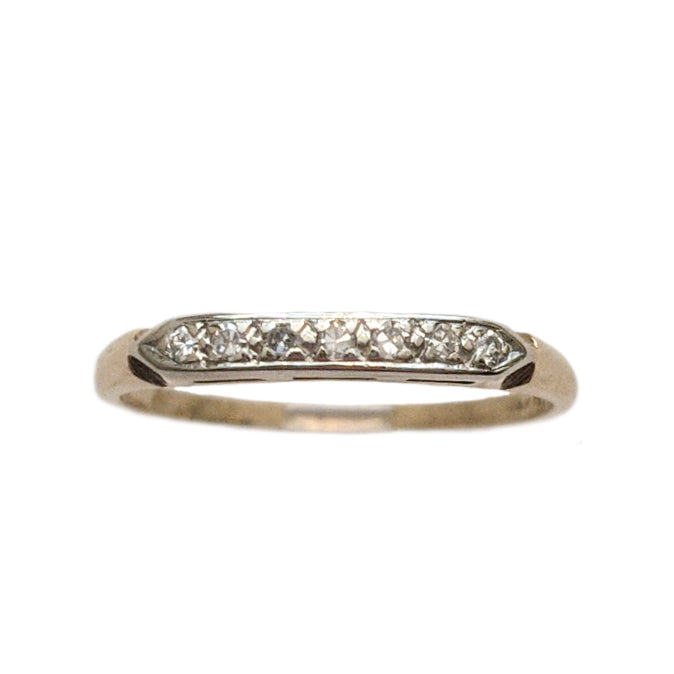 Edwardian 14k and Platinum Diamond Wedding Band