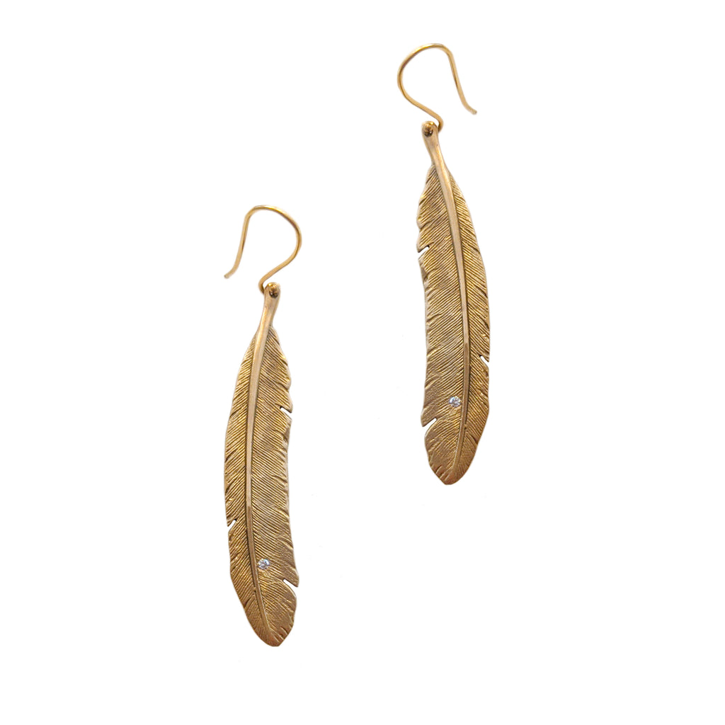 14k Feather Earrings with Diamonds
