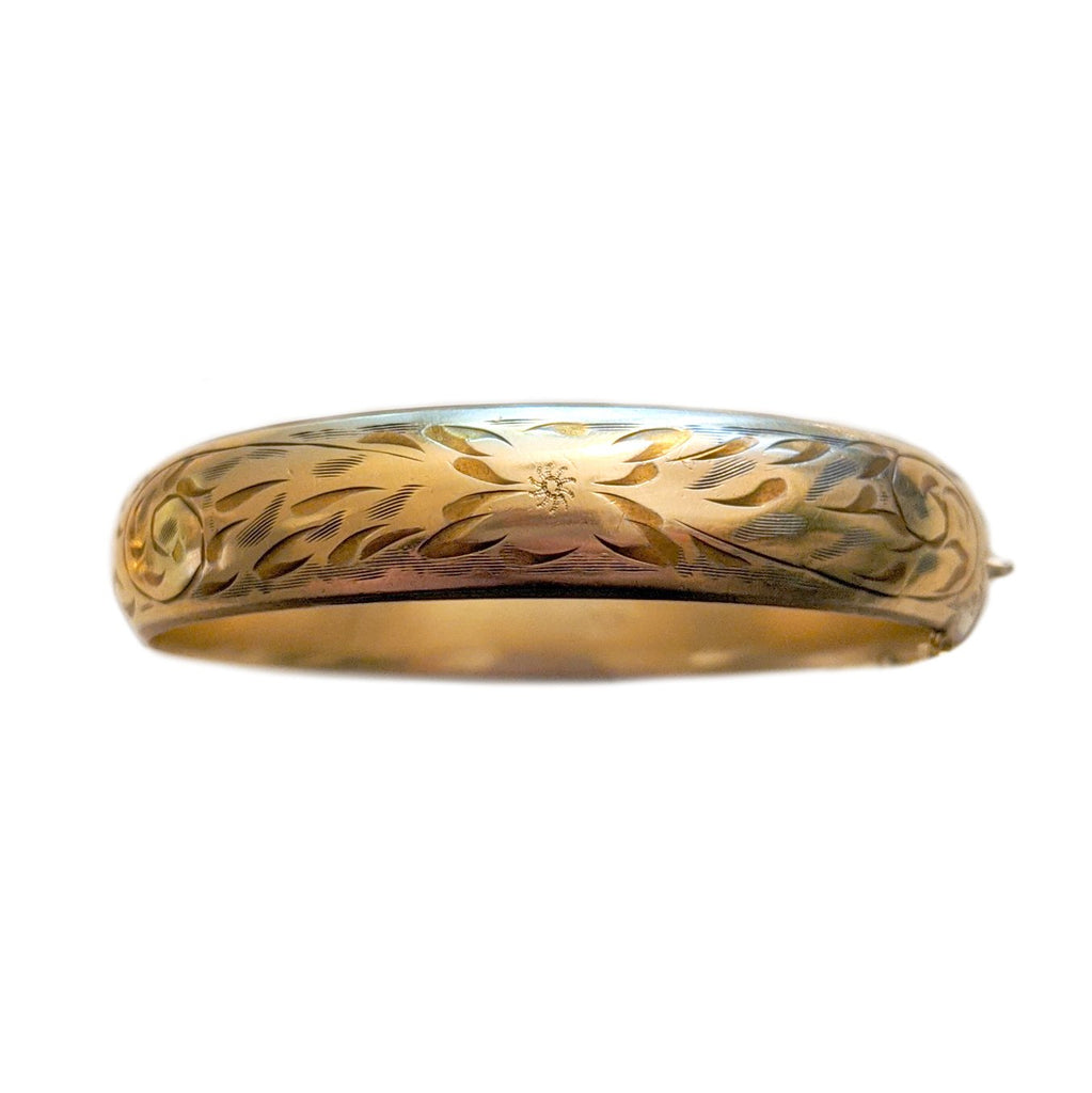Art Deco Gold Fill Engraved Bangle