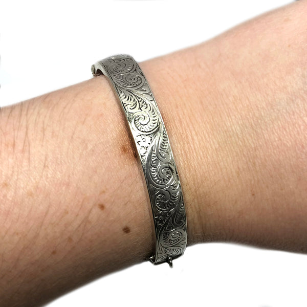 Engraved Silver Cuff Bracelet