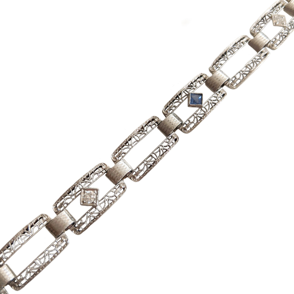 Art Deco 14k Diamond and Sapphire Filigree Bracelet