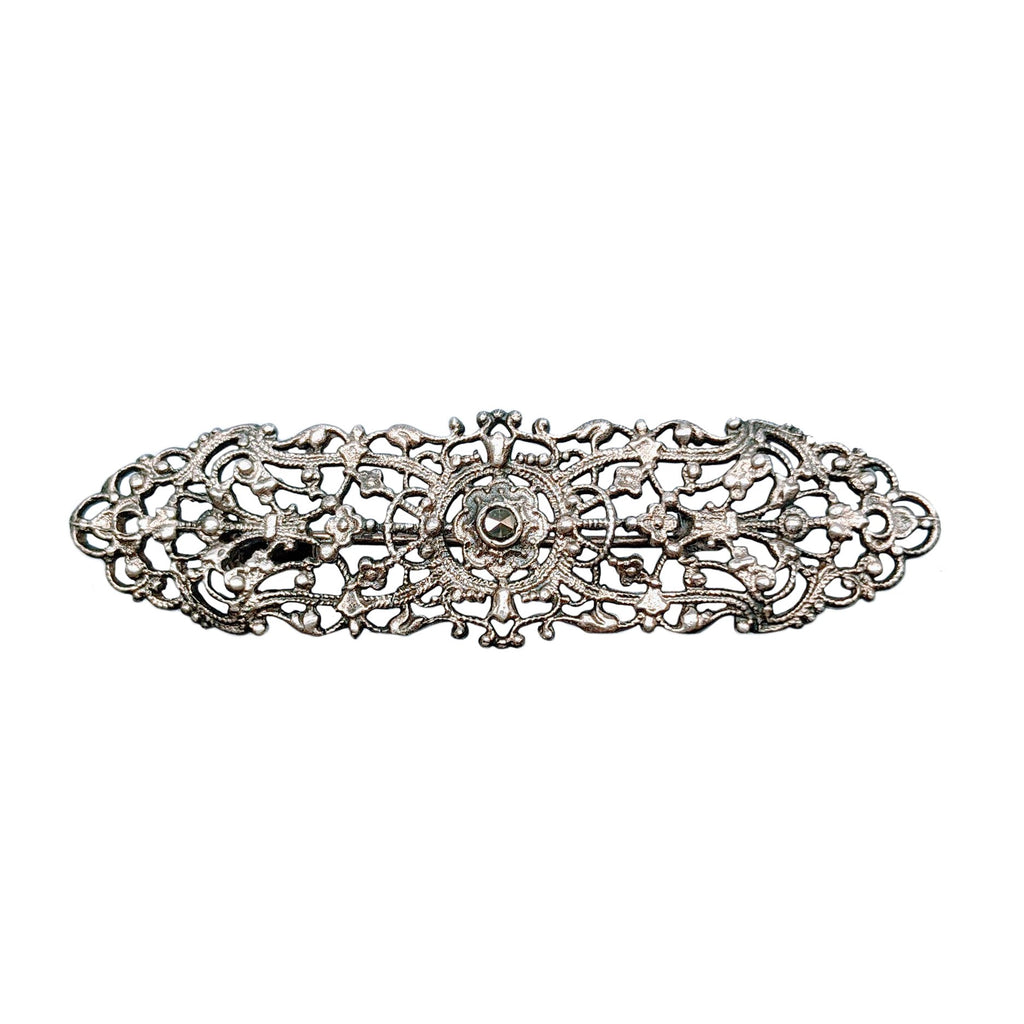 Art Deco Silver Filigree Elongated Brooch