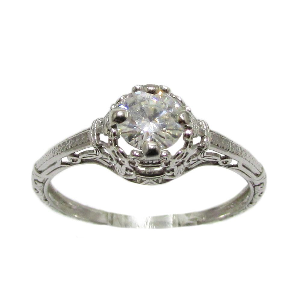 Filigree Moissanite Engagement Ring