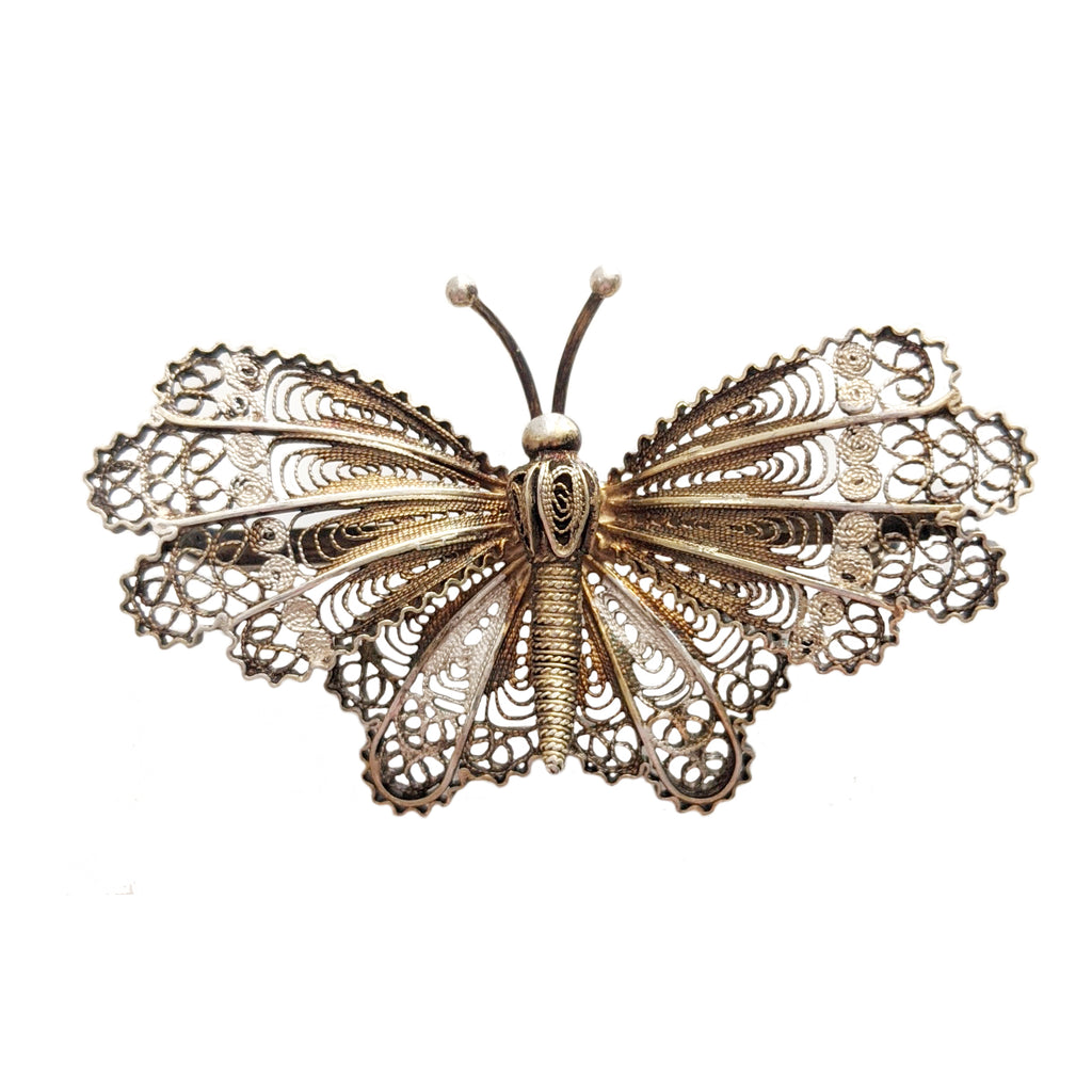 Art Deco Silver and Gilt Filigree Butterfly Brooch