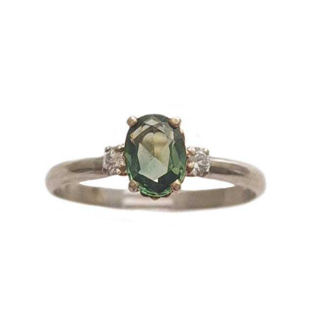 Oval Green Sapphire and Diamond Ring