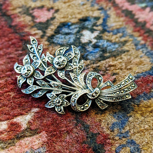 20% OFF Antique Sterling Silver and Marcasite Bouquet Pin