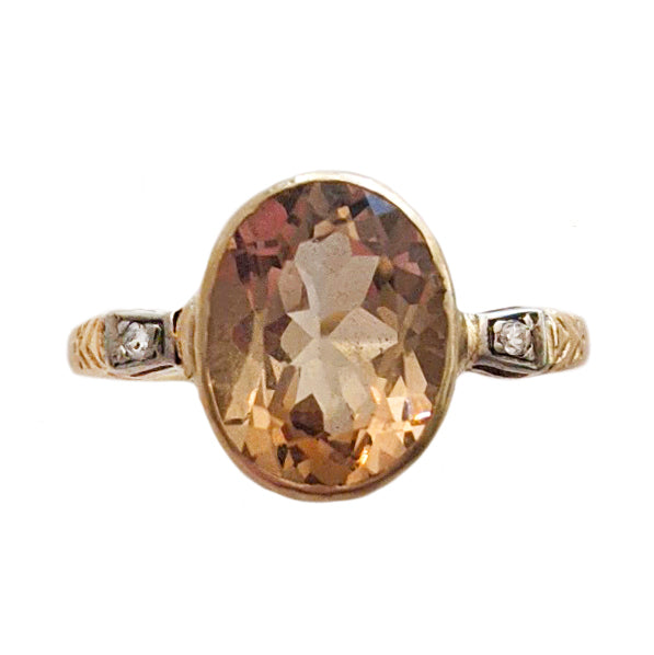 Art Deco 14k Imperial Topaz and Diamond Ring