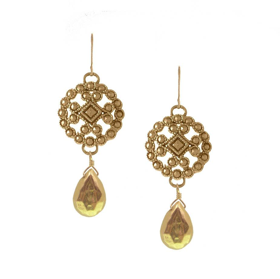 Lace Cast Earring with Briolette