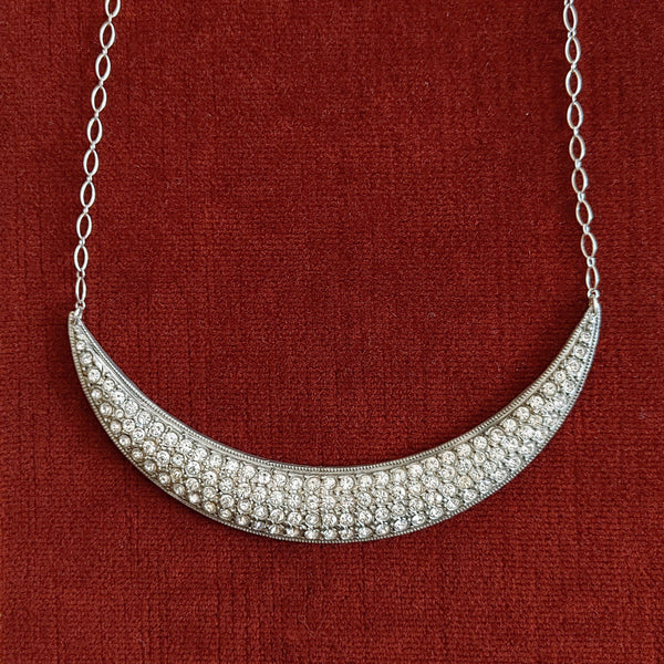 Art Deco Silver Crescent Moon Necklace