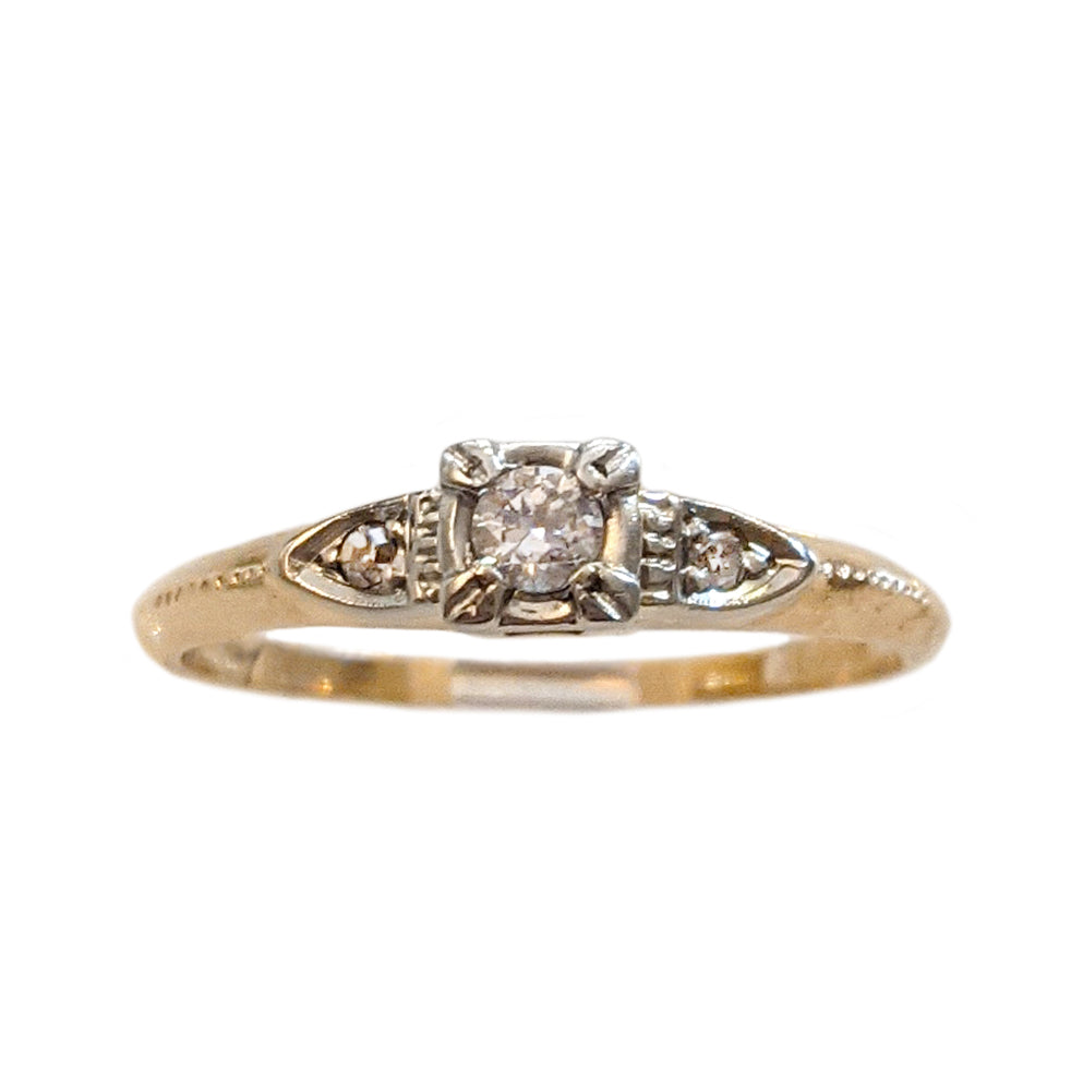 Art Deco Petite Milgrain Diamond Engagement Ring