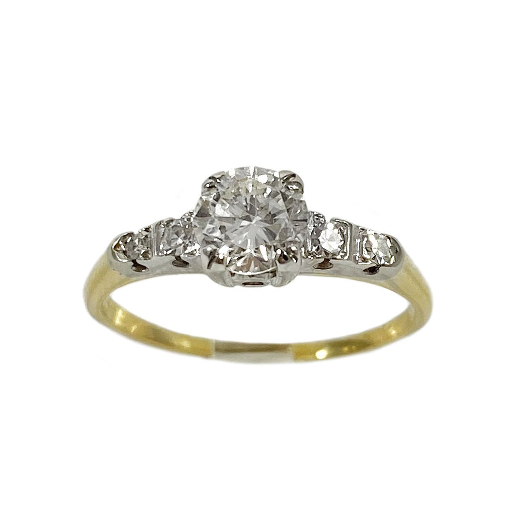 Art Deco Mixed Metal Engagement Ring