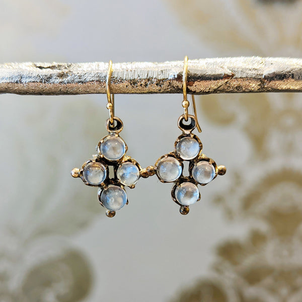 Victorian 10k Moonstone Cluster Earrings