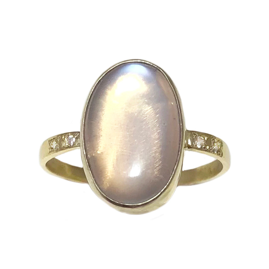 14k Oval Moonstone and Diamond Ring