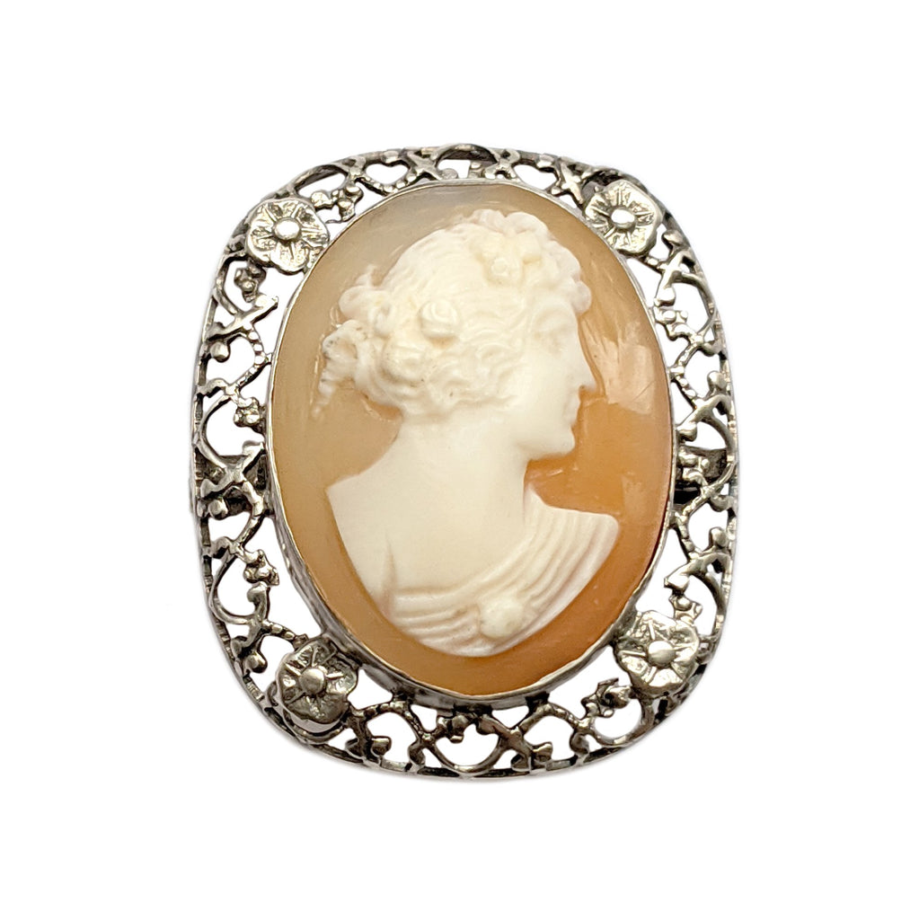 30% OFF Antique Silver Cameo Brooch with Orange Blossom Detail