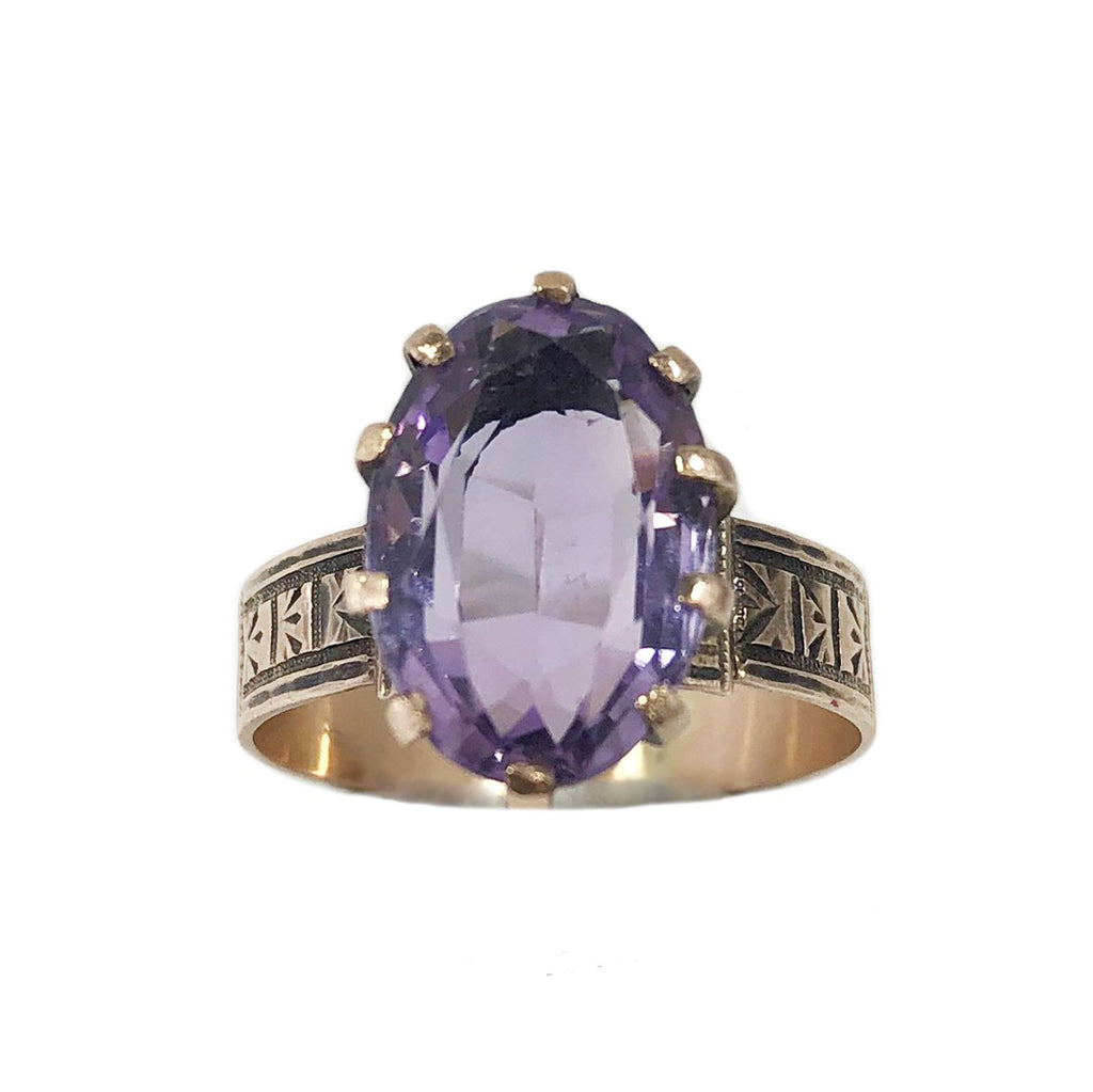 20% OFF! Victorian Amethyst Ring with Wide Engraved Band