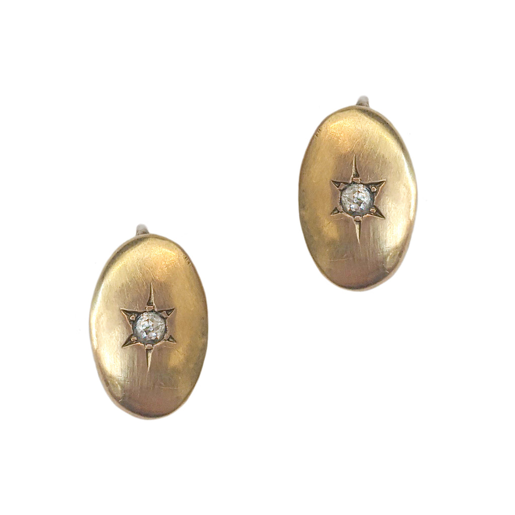 Victorian 14k Oval Earrings with Twinkle-Set Diamonds