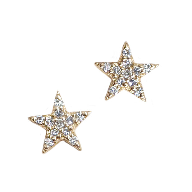 14k Petite Pavé Star Post Earrings