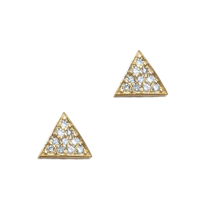 14k Petite Pavé Triangle Post Earrings