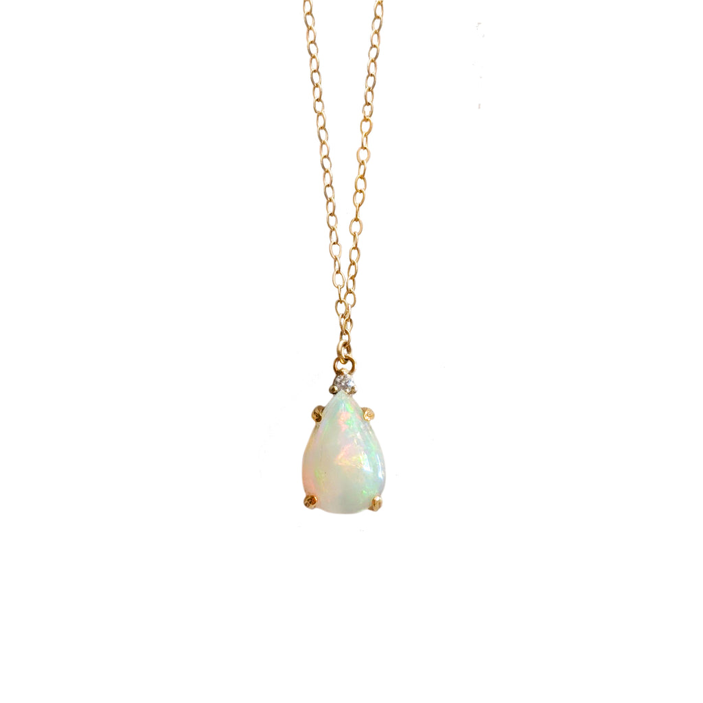 14k Pear Opal and Diamond Necklace
