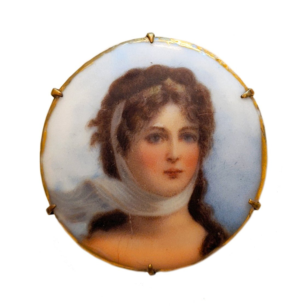 20% Off! Rare Victorian Painted Portrait Brooch