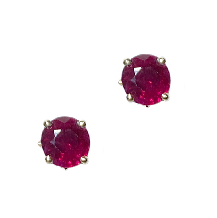 Prong Set Ruby Studs