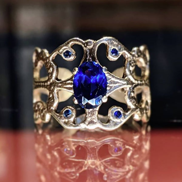 14k Scroll Ring with Sapphire