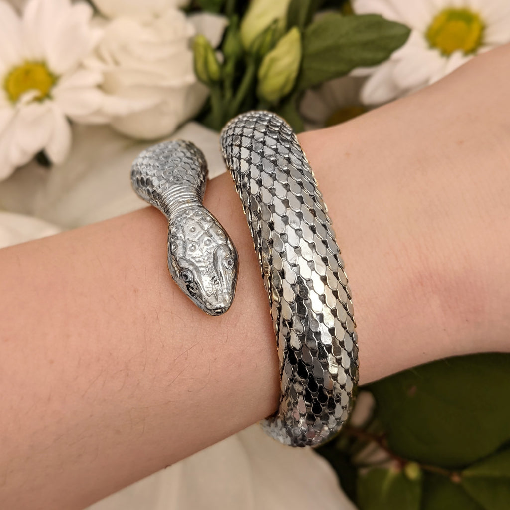 Retro Silver Whiting & Davis Wrap Snake Bracelet