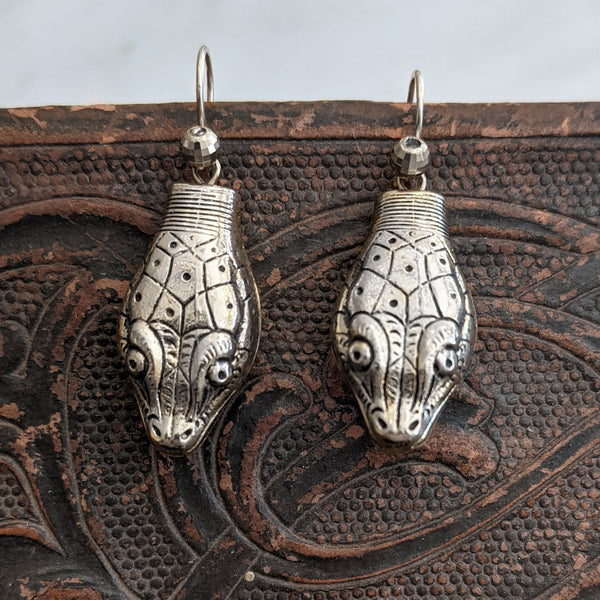 Antique Silver Repoussé Snake Head Earrings