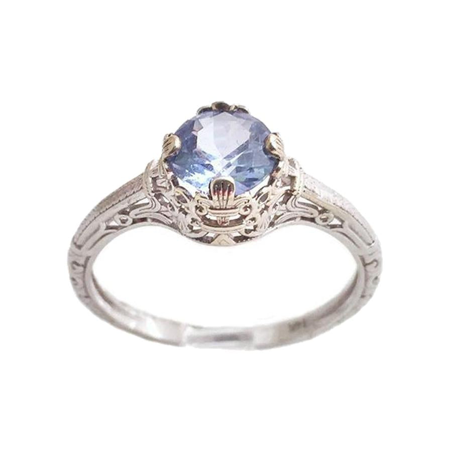Filigree Style Aquamarine Engagement Ring