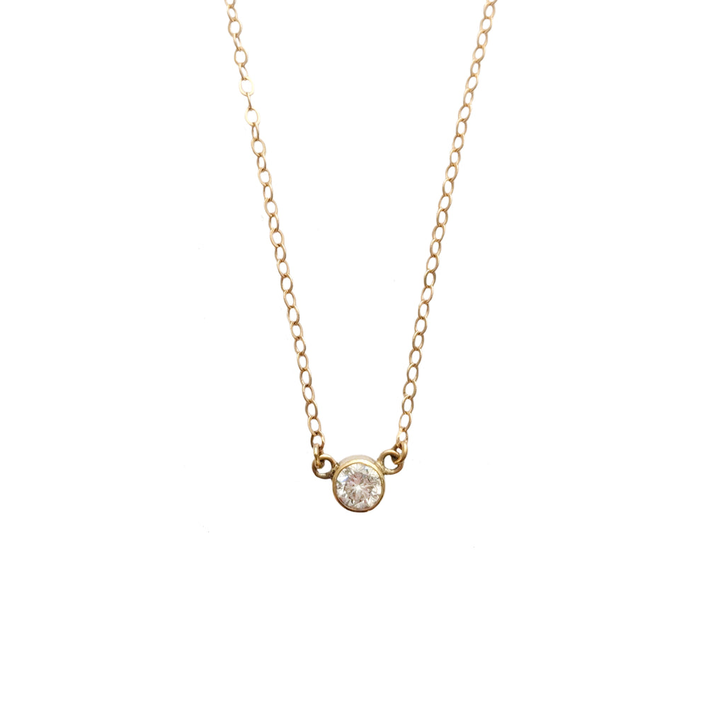 14k Stationary Diamond Pendant