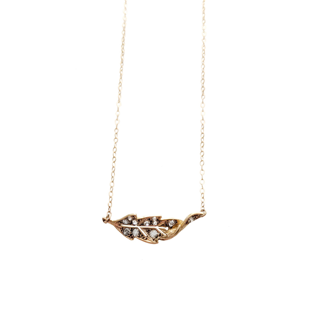 Victorian 18k and 14k Twisting Leaf Necklace with Diamonds