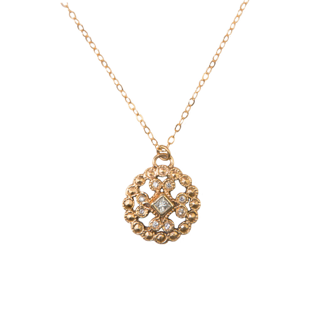 14k Lace Cast Necklace with Diamonds