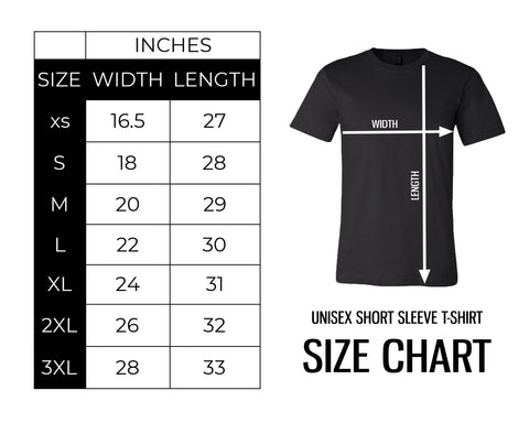 Size chart for Canton Box Co T-Shirts