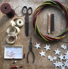Caltonberry wreath making with porcelain stars and  local willow.