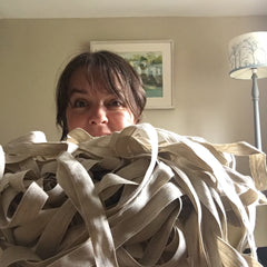 Lyn Abraham, With Caltonberry natural cotton ribbon ready for personalising