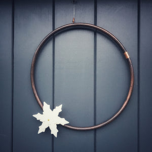 Copper  Wreath with Porcelain Snowflakes