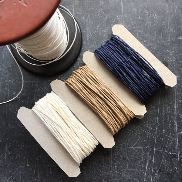 Paper twine in natural, Navy and white