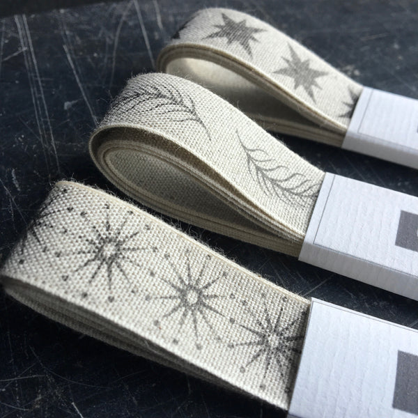 Linen ribbon with feather design from Caltonberry made in the Uk