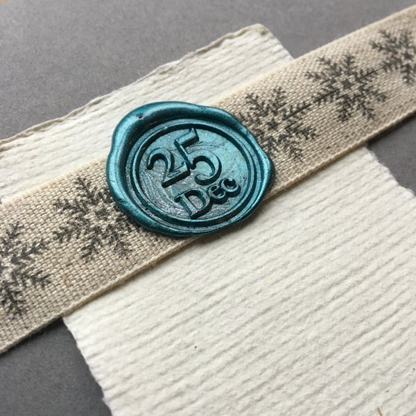 Linen ribbon with snowflake design 19mm wide made in the UK