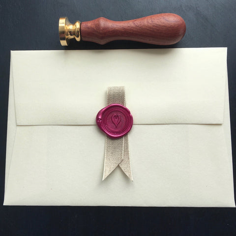 Brass heart wax seal design, from Caltonberry
