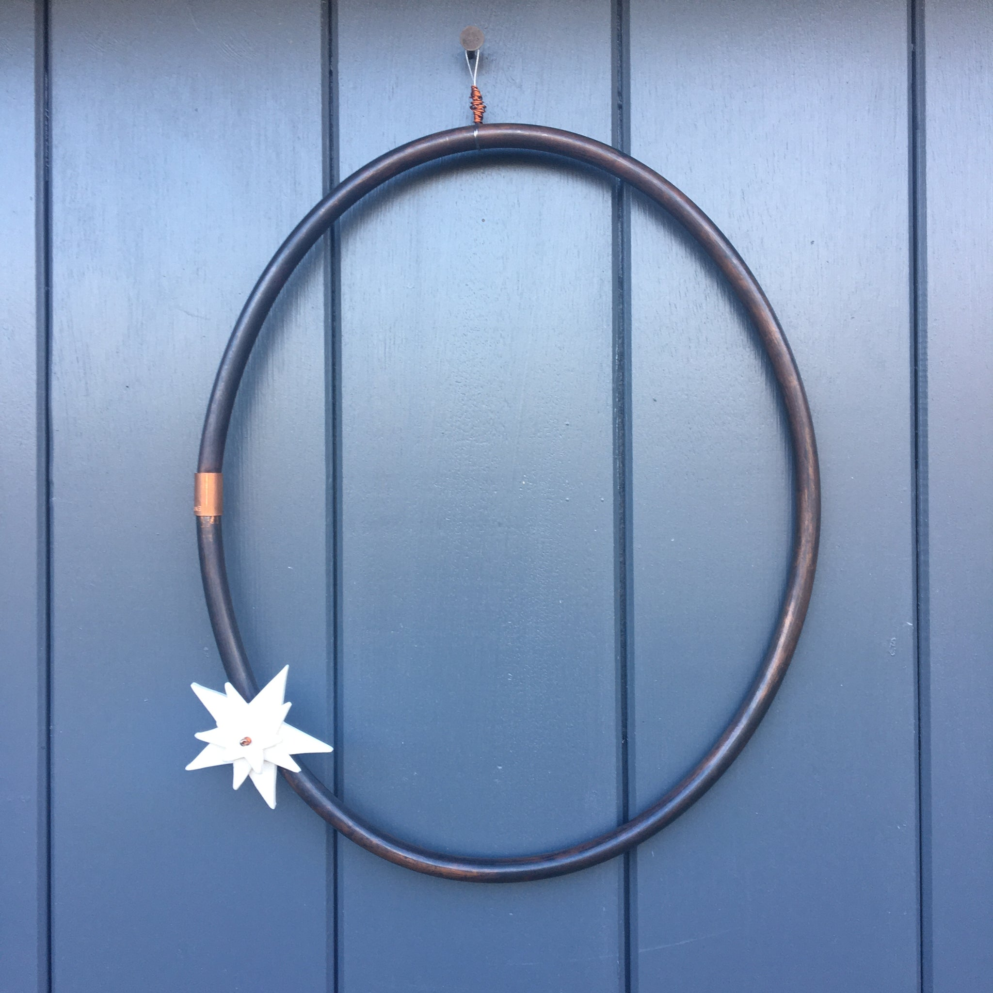 Copper  Wreath with Porcelain Star