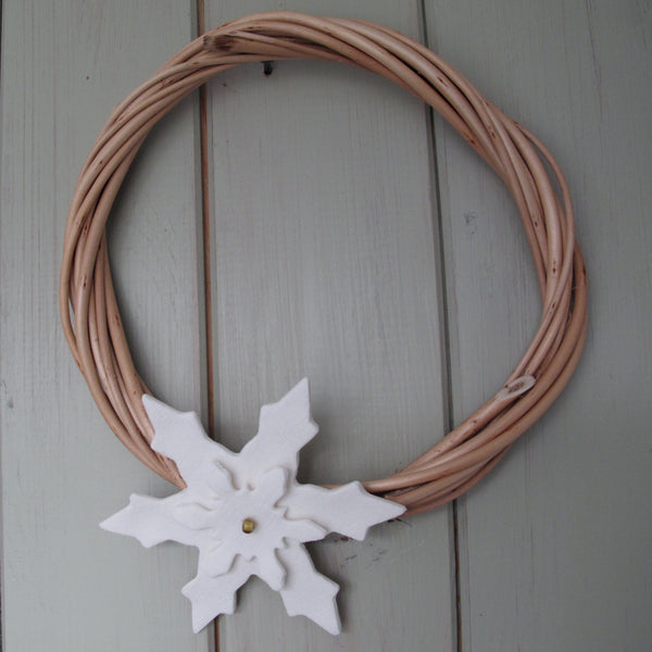 WIllow  Wreath with Porcelain Snowflakes