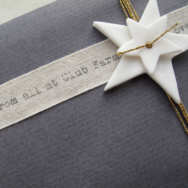 Peronalised Linen ribbon from Caltonberry