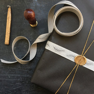 Natural linen ribbon with featheR design