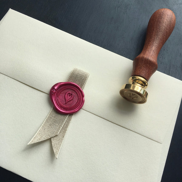 Heartt brass seal stamp perfect for valentines and wedding  stationary